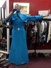 Blue Silk Mantage Evening Gown and Jacket