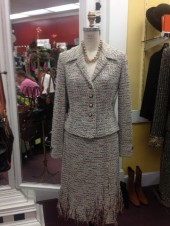 St. John Fringed 2 Piece Skirt and Jacket Suit